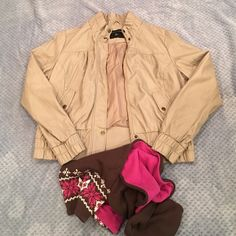 "Dorothy Perkins Faux Leather Jacket Beautiful neutral color that goes with everything. Cross between cream and gray. Never worn. NWOT. Aproximately 43"" bust x 36.5"" waist x 45.5"" low hip. Dorothy Perkins Jackets & Coats"