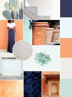Pretty, simple, outfit. A mood board full of navy, terra cotta orange, pale teal and a neutral grey #MoodBoard #Design | http://KaraLayneAndCo.com