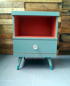 Mid - century Modern side table in Annie Sloan's Provence, with a mix of ...