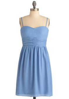 Cornflower You Today? Dress - Short, Blue, Solid, Exposed zipper, Sheath / Shift, Spaghetti Straps, Casual, Mini