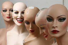 """Group of 5 basic Hindsgaul 'Christel' mannequins ... look familiar? What does that say about """"familiar"""" ?"""