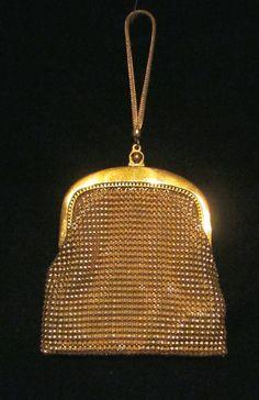 1930s Whiting Davis Gold Mesh Wristlet Purse Vintage Wedding Handbag Formal Bridal Purse