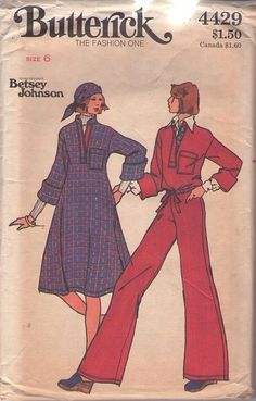 $12.99 vintage 70s designer betsey johnson tent dress, top & pants pattern