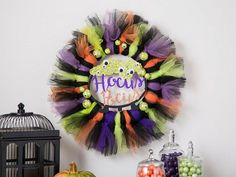 We're getting a little excited for Halloween especially after making this Hocus Pocus wreath! Click the link to shop it and make it!  #hocuspocus #halloweenwreath #wreathideas #halloweenwreathideas #doordecor #halloweendoordecor #orientaltrading #fun365