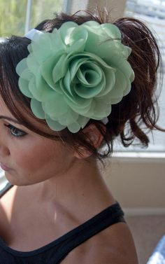 Mint Flower Headband - Poofy Mint Green Flower on a White ribbon Headband on Etsy, $26.00