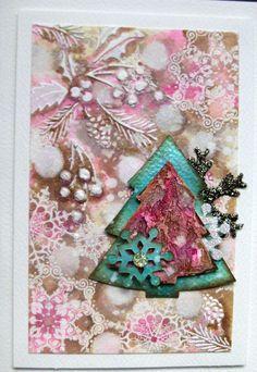 Mixed media Christmas cards by Sanda Reynolds