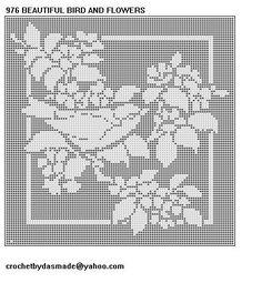 976 Beautiful Bird Flowers Filet Crochet Doily Tablecloth Pattern ...