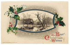 Vintage Christmas Greetings PC,  A Country Stream in Winter, John Winsch, 1912 #Christmas