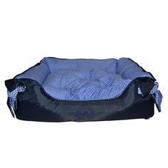 Cama Quadrada Ilhóis Azul com Bolinhas Brancas Dog's Care - MeuAmigoPet