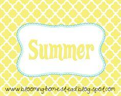 Blooming Homestead: Free Summer Printables
