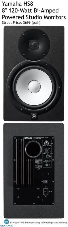 "Yamaha HS8 8"" 120W Bi-Amp Powered Studio Monitors. Features: - 8"" cone woofer, 1"" dome tweeter - Bi-Amplification: 75-watt LF, 45-watt HF - Inputs: 1 x XLR, 1 x 1/4"" (TRS) - Frequency response: 38Hz to 30kHz - Dimensions: 9.8"" x 15.4"" x 13.1"" - Weight: 18.1 lbs. For a detailed guide to studio monitors see https://www.gearank.com/guides/best-studio-monitors"