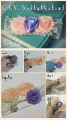 **Order Inexpensive shabby chic flowers to make your own headbands. Choose your shabby flowers, a lace headband, and some bling. So easy! Lace Headbands, Diy Headband, Baby Girl Headbands, Headband Flowers, Shabby Chic Headbands, Shabby Chic Flowers, Diy Flowers, Fabric Flowers, Flower Diy