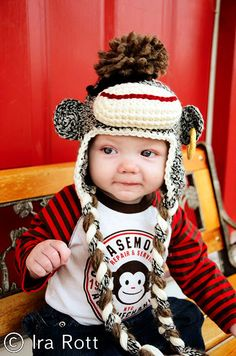 This super adorable Pirate Sock Monkey Hat has a funky Mohawk, eye patch and earring.