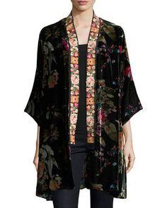 TVTA7 Johnny Was Kehlani Reversible Velvet Kimono W/ Embroidery Trim
