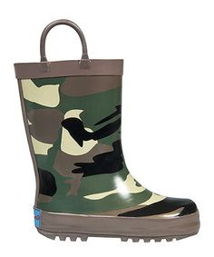 Loving this RanyZany Green Cool Camo Rain Boot - Kids on #zulily! #zulilyfinds