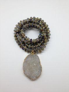 Labradorite and Druzy Pendant Necklace by Goldenstrand Jewelry, www.goldenstrandjewelry.com