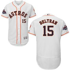 Astros #15 Carlos Beltran White Flexbase Authentic Collection 2017 World Series Champions Stitched MLB Jersey