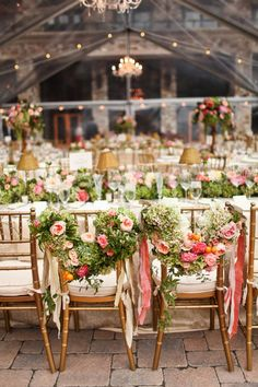 Floral garland as sweetheart chair markers
