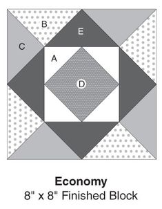 Economy, part of Quilter's World's FREE Quilt Block of the Month. Get the download here: http://www.quiltersworld.com/Quilt_Block/?id=28
