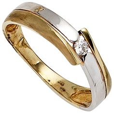 Ladies ring yellow white combined 8 carat Bicolor 1 zirconia 60 Dreambase www. All The Small Things, Bangles, Bracelets, Schmuck Design, Jewelry Box, Wedding Rings, Rose Gold, Engagement Rings, Jewels