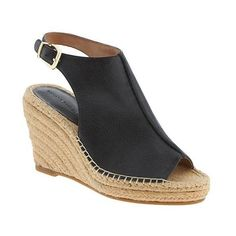 Banana Republic Womens Noemie Espadrille Wedge Size 7 1/2 - Black (135 CAD) ❤ liked on Polyvore featuring shoes, sandals, wedges shoes, espadrille sandals, wedge espadrilles, black wedge shoes and black wedge heel sandals