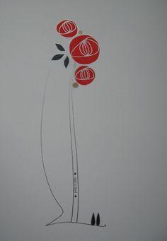 Jessie Boyd (Scotland). Glasgow Rose (2). Ink and Acrylic