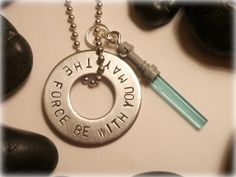 Star Wars inspired - May the force be with you necklace - hand stamped
