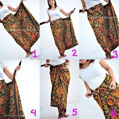 fabric Batik into a skirt (side angle)Sarung how to Kebaya Lace, Kebaya Hijab, Batik Kebaya, Kebaya Dress, Batik Dress, Traditional Fashion, Traditional Outfits, Diy Couture Foulard, Model Rok