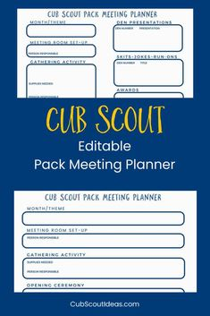 Be More Organized – Free Cub Scout Pack Meeting Planner via Use this FREE Cub Scout Pack Meeting Planning Sheet to record all your agenda details. The form can be edited for your convenience. Cub Scout Law, Cub Scouts Wolf, Tiger Scouts, Scout Mom, Girl Scouts, Cub Scout Activities, Camping Activities, Pack Meeting, Meeting Agenda Template