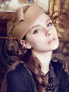 Gorgeousness! Elegant Camel Color Flower Wool Felt Headwear With Veil #Elegant #Hats #Headwear