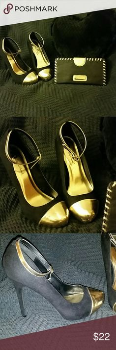 Black and Gold Shoes and Wallet Set... A Pair of Gently Loved 5 inch Michael Antonio Microfiber Platform Stilleto Heels,With a Gold Ankle Strap and Toe Cap. Included is a Matching Steve Madden  Wallet/Clutch with Id/CREDIT Card  Slots and zippered compartments  with a snap button closure. A super cute Preloved Matching set Elegantly Paired for any special occasion!. Michael Antonio Shoes Heels