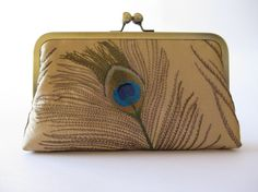 Silk Embroidered Peacock Clutch Bag in Gold with Chain by BagNoir, $80.00