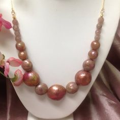 """Beautiful Handmade Polymer Clay Necklace  Handmade by me...  Polymer Clay 26"""" 14K Gold Filled Necklace.  Gold leaf applied to each bead.  Rose Quartz beads. JewelryByShari Jewelry Necklaces"""