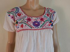 mexican embroidered blouse handmade top hippie top festival