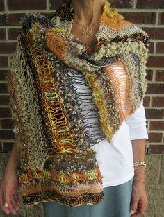 """Crazy freeform rectangular shawl.  No pattern needed, just different """"stitch gymnastics."""""""