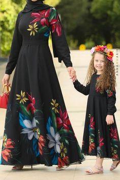 Little Autumn Cherry Dress Mom Daughter Matching Dresses, Modest Maxi Dress, Mother Daughter Fashion, Cherry Dress, Dresses Kids Girl, Mode Hijab, Beautiful Dresses, Summer Dresses, Party Dresses