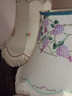Homemade lampshades vintage hand embroidered fabric and vintage trim