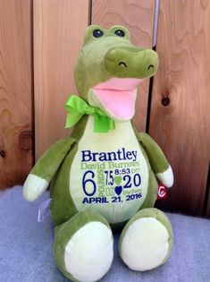 eec44baa9d6 Embroidered Stuffed Animal. Personalized Baby Gift. Crocodile. Monogrammed  Birth Announcement. Baby Boy Gift. World Class Embroidery