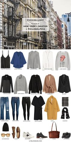 16 Days in New York, Boston, and Philadelphia. Packing Light List. What to pack. Fall Travel Capsule Wardrobe 2017
