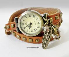 Armbanduhr♥Nieten♥Vintage♥Armbanduhr♥Nieten♥Vintage♥Armbanduhr♥Nieten♥Vintage♥  Lässige natur - hellbraun /bronzefarbene Damen Armbanduhr aus Led...