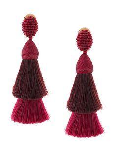 0c07c903c8 Oscar De La Renta Tiered Tassel Earrings - Farfetch