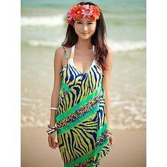 a38276b562879 Women s Fashion Green Zebra Chiffon Deep-v Swimwear Nz Swimsuit Nz Beach  dress Bikini Cover-up