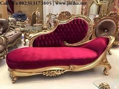 Red Rococo Chaise Lounge for pictures