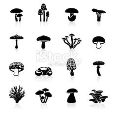 Black Symbols - Edible Mushrooms Royalty Free Stock Vector Art Illustration