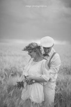seance engagement champ de blé