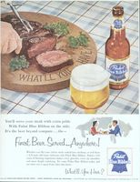 Pabst Blue Ribbon Beer 1954 Ad Picture