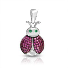 Green Eyes Lady Bug Pendant 925 Silver Pink Ruby Color Micro Pave CZ