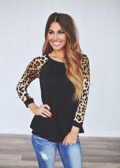 Dottie Couture Boutique - Black Leopard Sleeve Top  , $28.00 (http://www.dottiecouture.com/black-leopard-sleeve-top/)