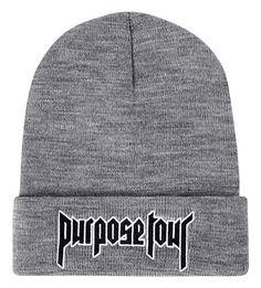 Justin Bieber Purpose Tour winter hat Men's Skullies Hip hop Streetwear gray GWomen's Beanies Hats