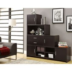@Overstock - Add a stylish touch to your home decor with this cappuccino bookcase. A step design with various shelves and drawers offer space to display and store your personal items.   http://www.overstock.com/Home-Garden/Cappuccino-Step-Design-Bookcase/6811615/product.html?CID=214117 $559.99